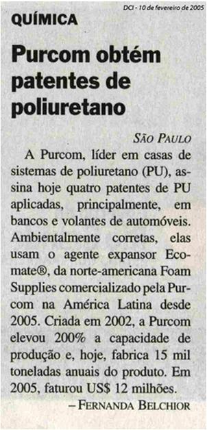 DCI / Purcom obtains polyurethane patents
