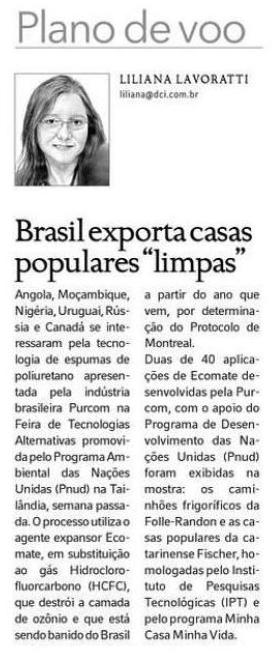 DCI / First ecological and flame retardant foam for popular houses of Minha Casa Minha Vida Program