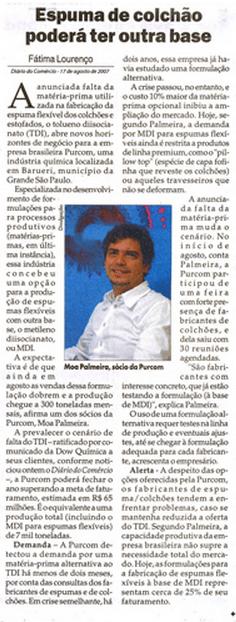 Diário do Comércio / To overcome the TDI crisis, Purcom develops flexible foam using MDI