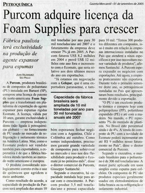Gazeta Mercantil / Purcom partners with the North American Foam Supplies